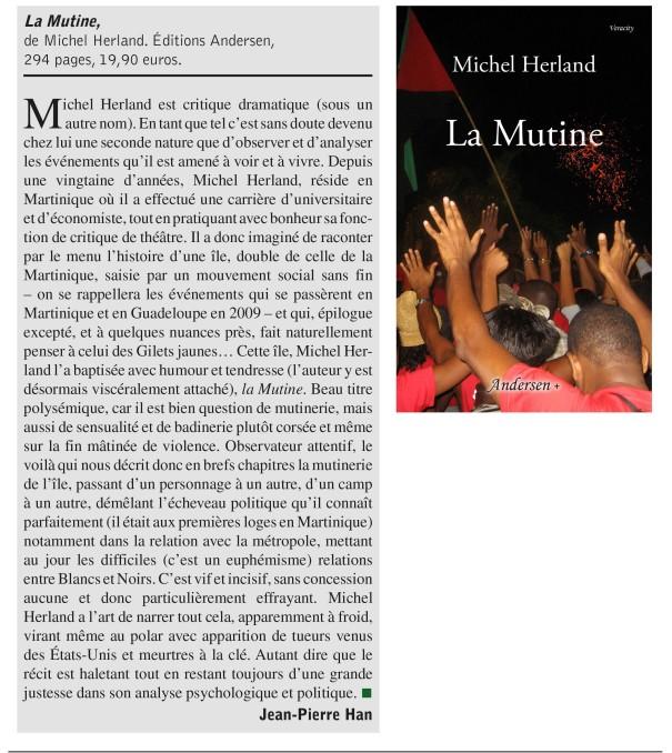Les Lettres françaises - Fév 2019 - Michel Herland - La Mutine