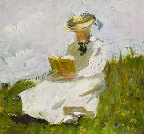 Femme lisant verdure
